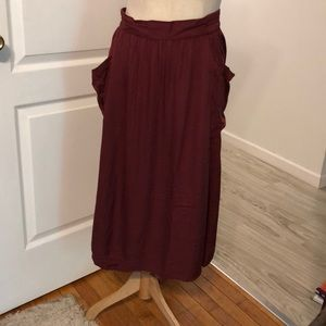 Long maroon skirt with pockets!